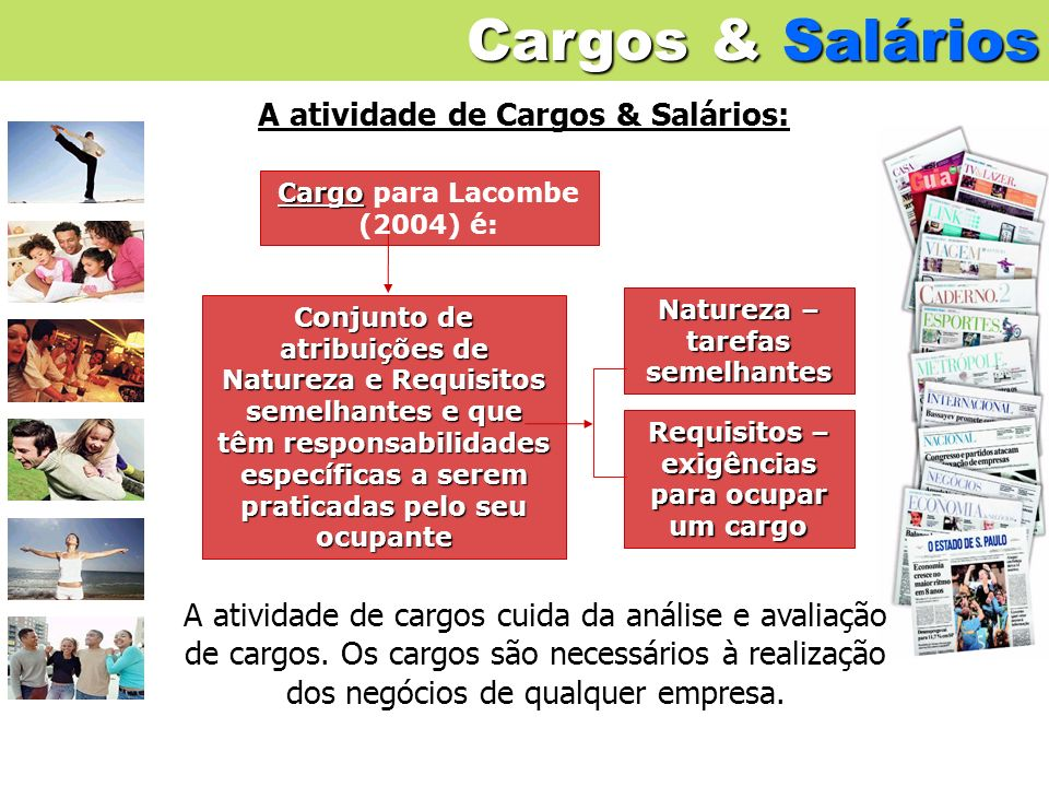 Cargos & Salários A atividade de Cargos & Salários: