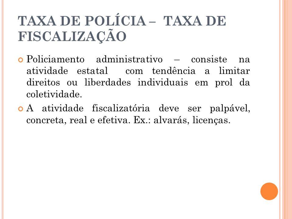 TAXA DE POLÍCIA – TAXA DE FISCALIZAÇÃO