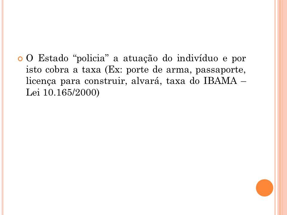 O Estado policia a atuação do indivíduo e por isto cobra a taxa (Ex: porte de arma, passaporte, licença para construir, alvará, taxa do IBAMA – Lei 10.165/2000)