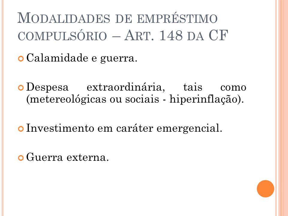 Modalidades de empréstimo compulsório – Art. 148 da CF