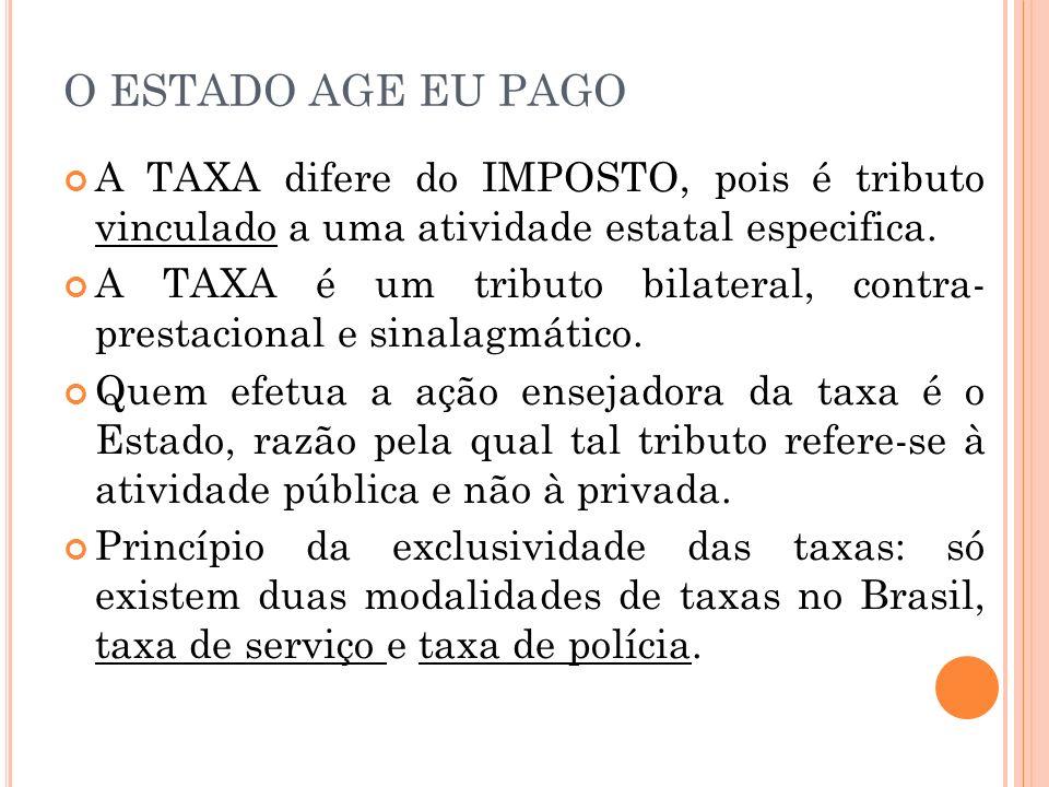 O ESTADO AGE EU PAGO A TAXA difere do IMPOSTO, pois é tributo vinculado a uma atividade estatal especifica.