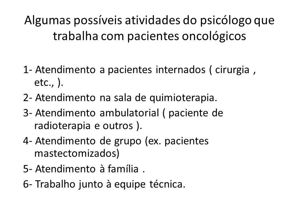 Algumas possíveis atividades do psicólogo que trabalha com pacientes oncológicos