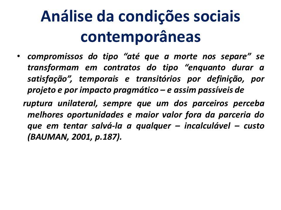Análise da condições sociais contemporâneas