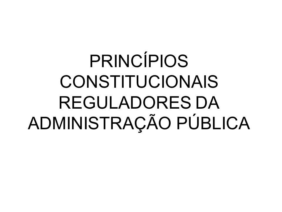 PRINCÍPIOS CONSTITUCIONAIS REGULADORES DA ADMINISTRAÇÃO PÚBLICA