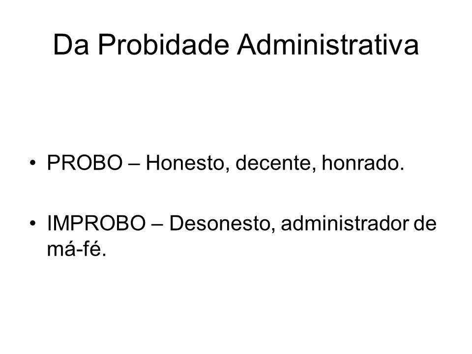 Da Probidade Administrativa