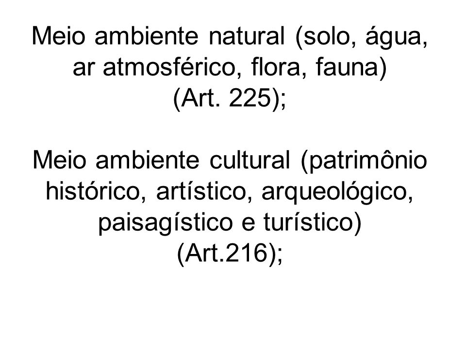 Meio ambiente natural (solo, água, ar atmosférico, flora, fauna) (Art