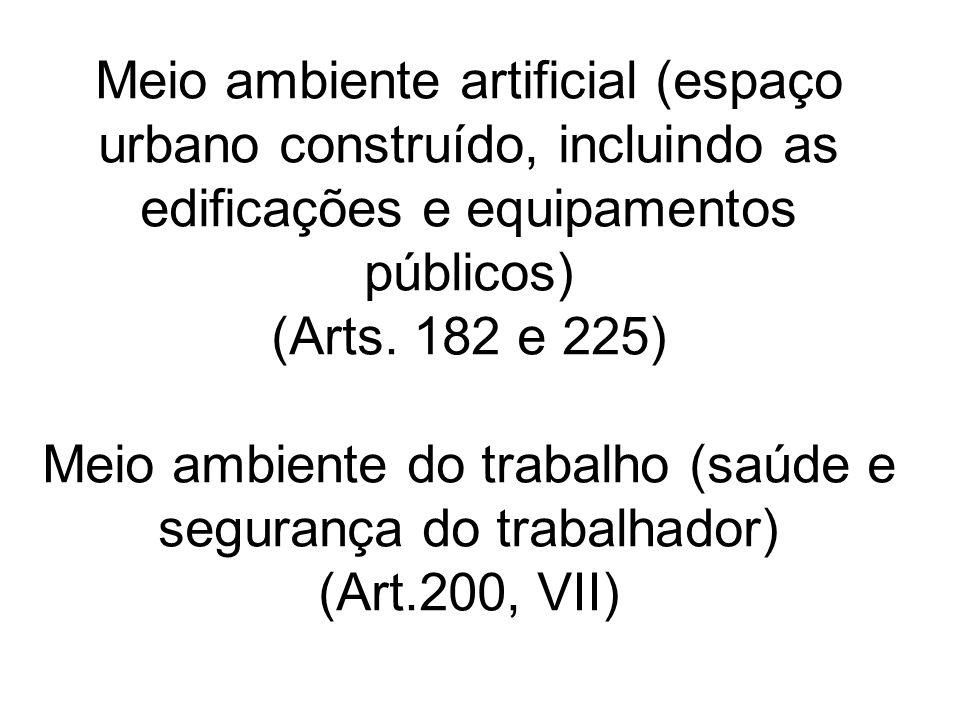 Meio ambiente artificial (espaço urbano construído, incluindo as edificações e equipamentos públicos) (Arts.