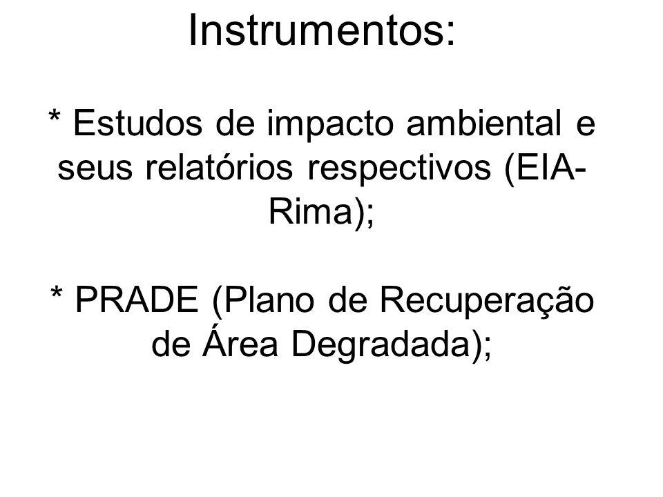 Instrumentos: * Estudos de impacto ambiental e seus relatórios respectivos (EIA-Rima); * PRADE (Plano de Recuperação de Área Degradada);