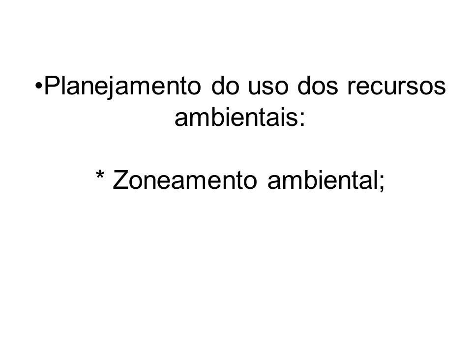 Planejamento do uso dos recursos ambientais: * Zoneamento ambiental;