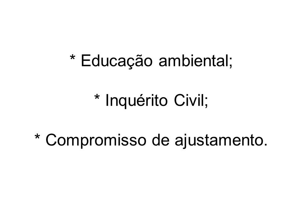 * Educação ambiental; * Inquérito Civil; * Compromisso de ajustamento.