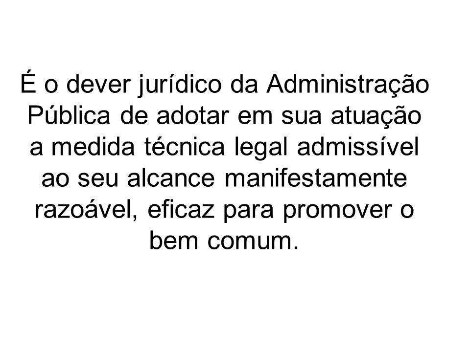 É o dever jurídico da Administração Pública de adotar em sua atuação a medida técnica legal admissível ao seu alcance manifestamente razoável, eficaz para promover o bem comum.