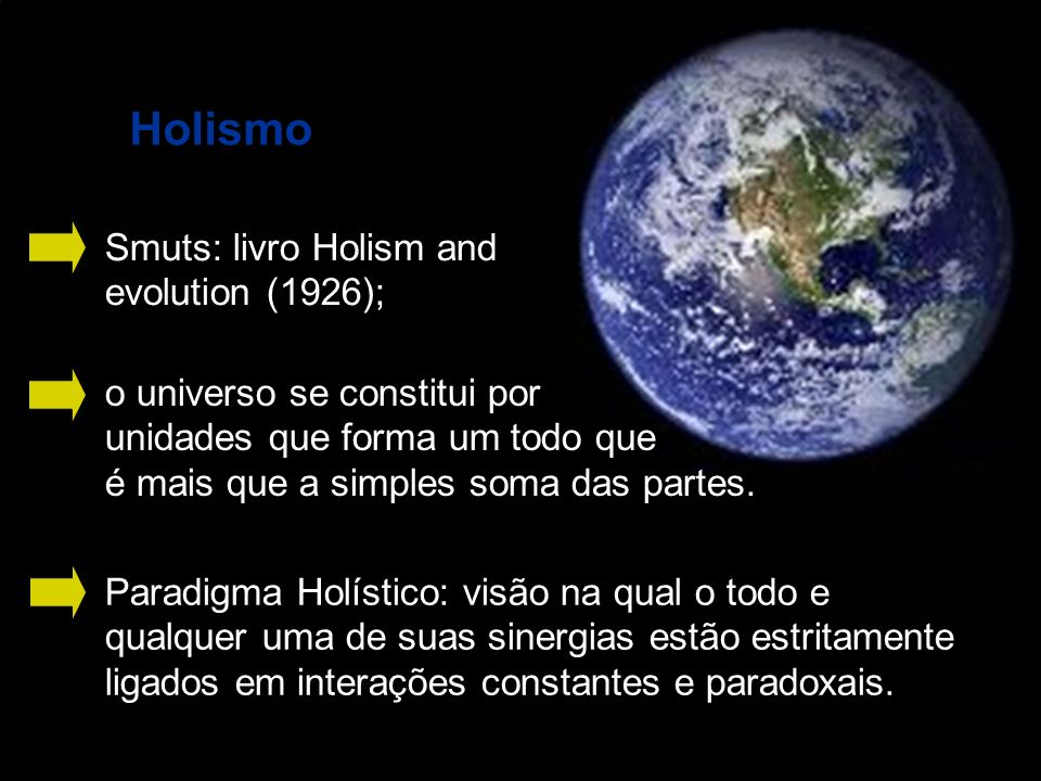 Holismo Smuts: livro Holism and evolution (1926);