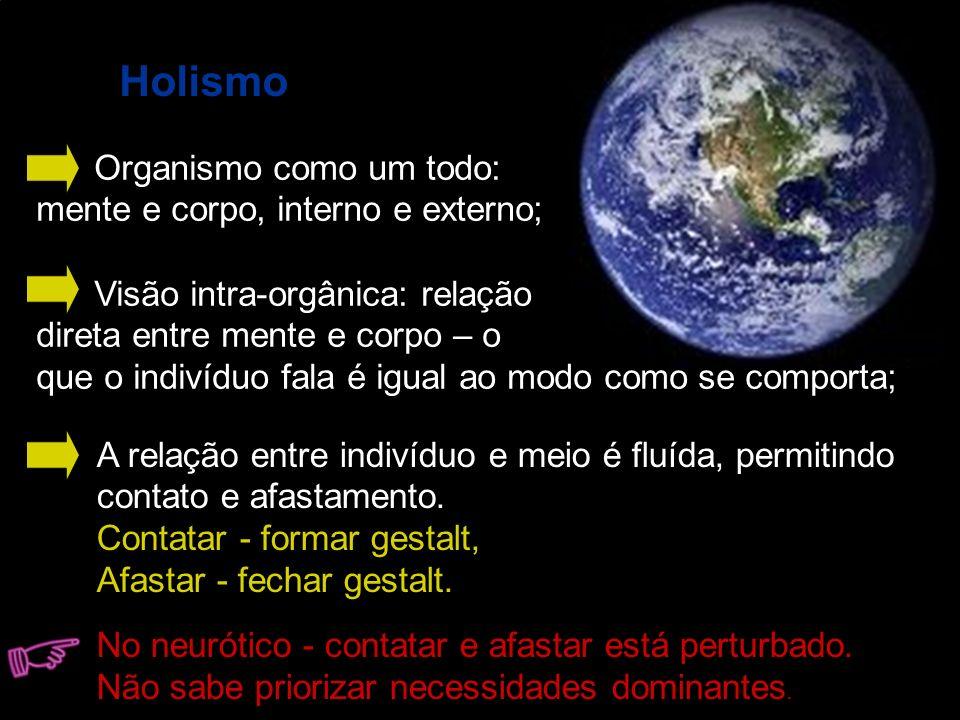 Holismo Organismo como um todo: mente e corpo, interno e externo;