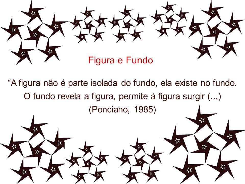Figura e Fundo A figura não é parte isolada do fundo, ela existe no fundo. O fundo revela a figura, permite à figura surgir (...)