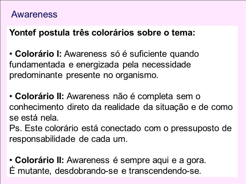Awareness Yontef postula três colorários sobre o tema: