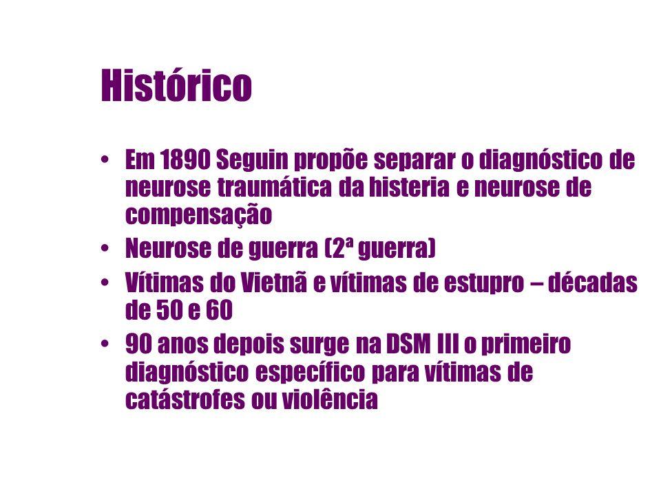 Histórico Em 1890 Seguin propõe separar o diagnóstico de neurose traumática da histeria e neurose de compensação.