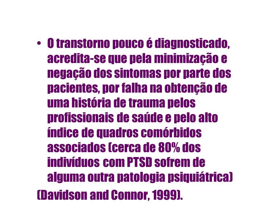 O transtorno pouco é diagnosticado, acredita-se que pela minimização e negação dos sintomas por parte dos pacientes, por falha na obtenção de uma história de trauma pelos profissionais de saúde e pelo alto índice de quadros comórbidos associados (cerca de 80% dos indivíduos com PTSD sofrem de alguma outra patologia psiquiátrica)