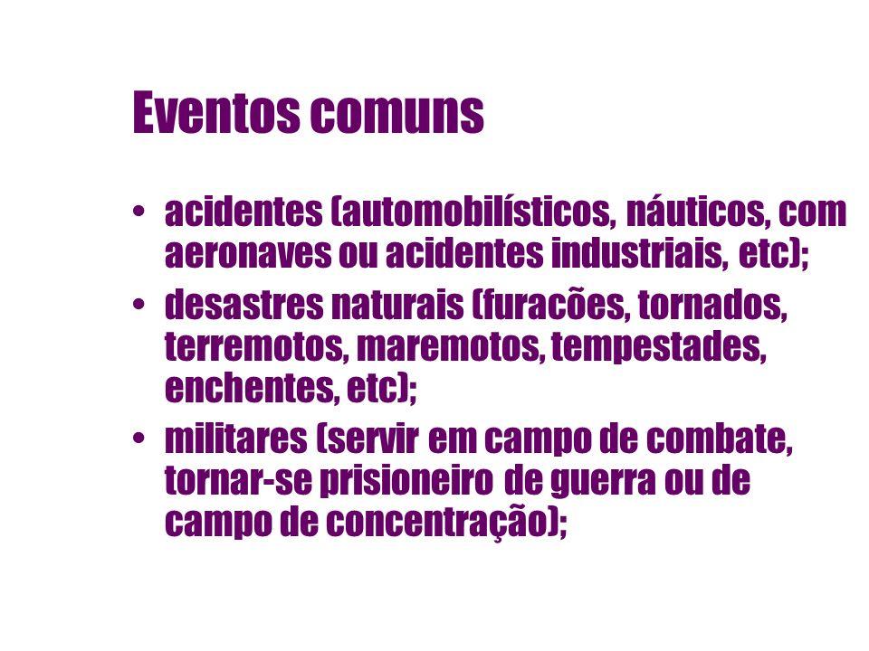 Eventos comuns acidentes (automobilísticos, náuticos, com aeronaves ou acidentes industriais, etc);