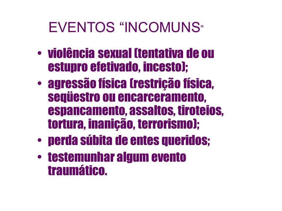 EVENTOS INCOMUNS violência sexual (tentativa de ou estupro efetivado, incesto);