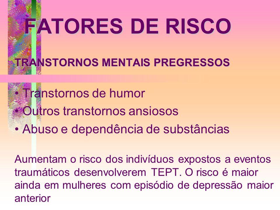 FATORES DE RISCO Transtornos de humor Outros transtornos ansiosos