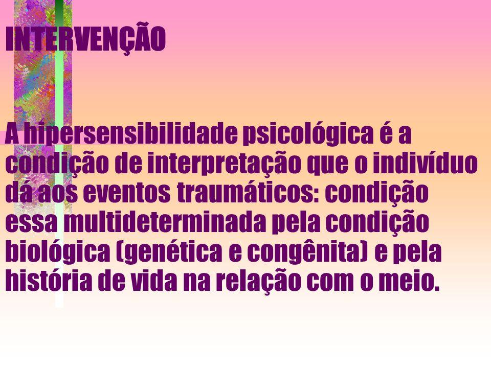 A hipersensibilidade psicológica é a condição de interpretação que o indivíduo dá aos eventos traumáticos: condição essa multideterminada pela condição biológica (genética e congênita) e pela história de vida na relação com o meio.