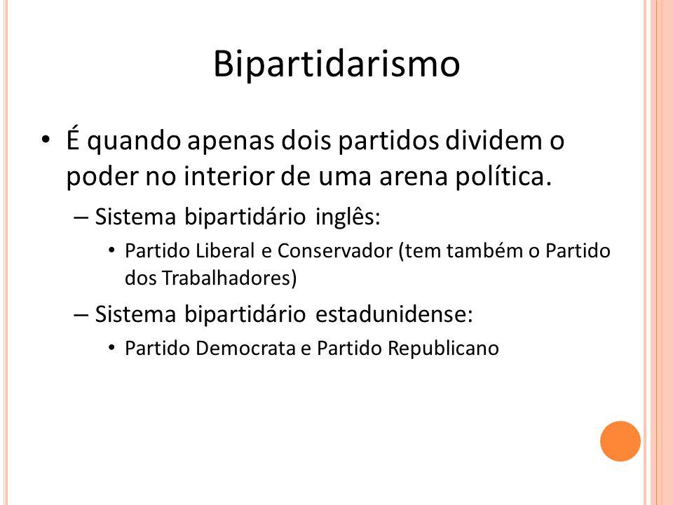 Bipartidarismo É quando apenas dois partidos dividem o poder no interior de uma arena política. Sistema bipartidário inglês: