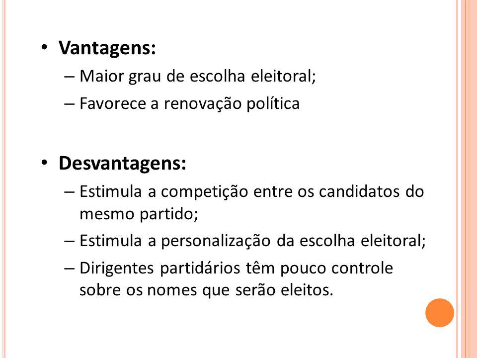 Vantagens: Desvantagens: Maior grau de escolha eleitoral;