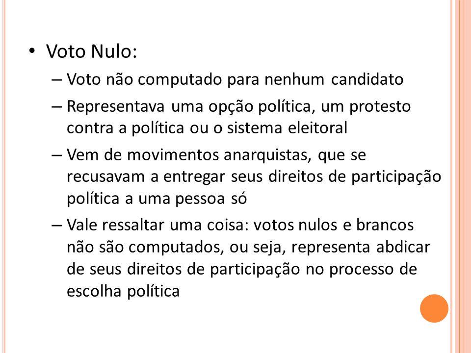 Voto Nulo: Voto não computado para nenhum candidato