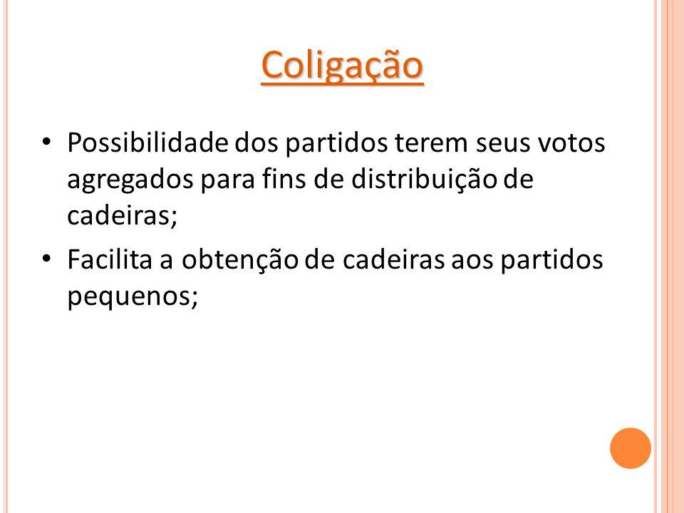 Coligação Possibilidade dos partidos terem seus votos agregados para fins de distribuição de cadeiras;