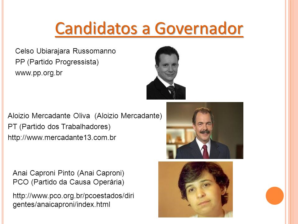 Candidatos a Governador