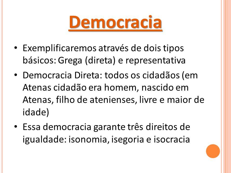 Democracia Exemplificaremos através de dois tipos básicos: Grega (direta) e representativa.