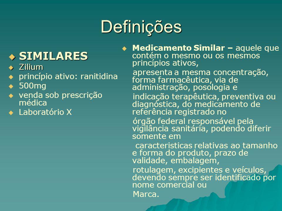 Definições Medicamento Similar – aquele que contém o mesmo ou os mesmos princípios ativos,