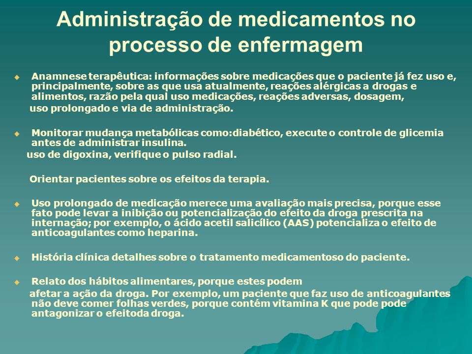 Administração de medicamentos no processo de enfermagem