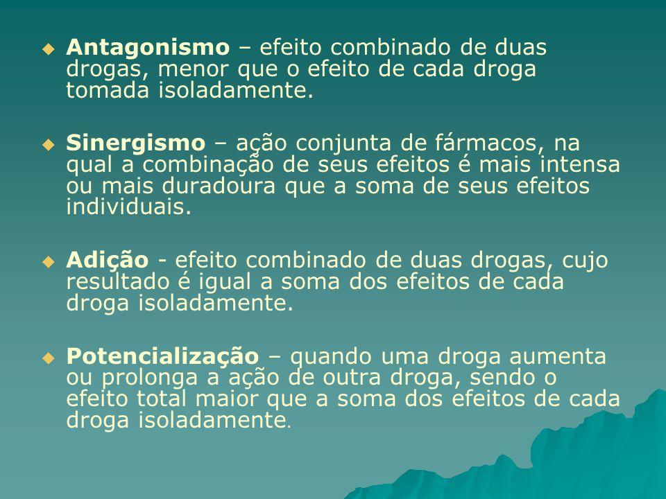 Antagonismo – efeito combinado de duas drogas, menor que o efeito de cada droga tomada isoladamente.