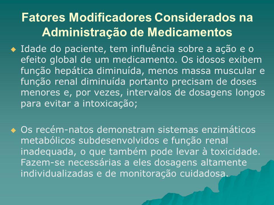Fatores Modificadores Considerados na Administração de Medicamentos