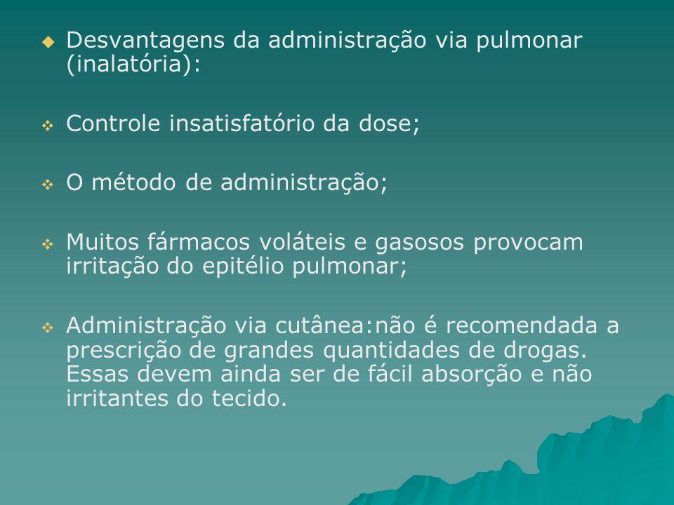 Desvantagens da administração via pulmonar (inalatória):