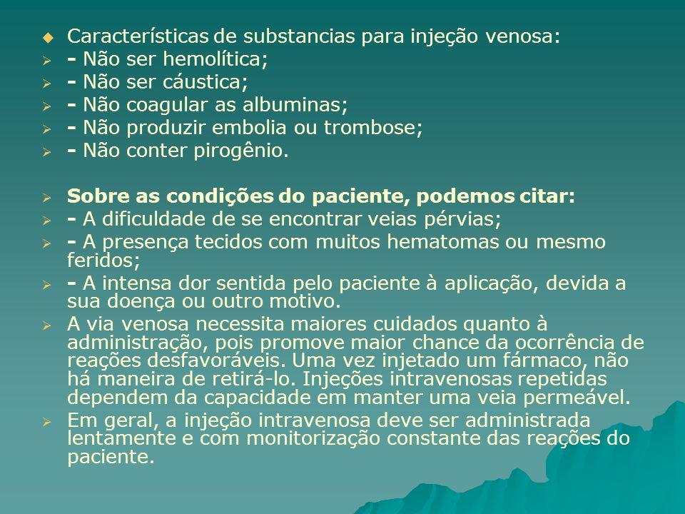 Características de substancias para injeção venosa: