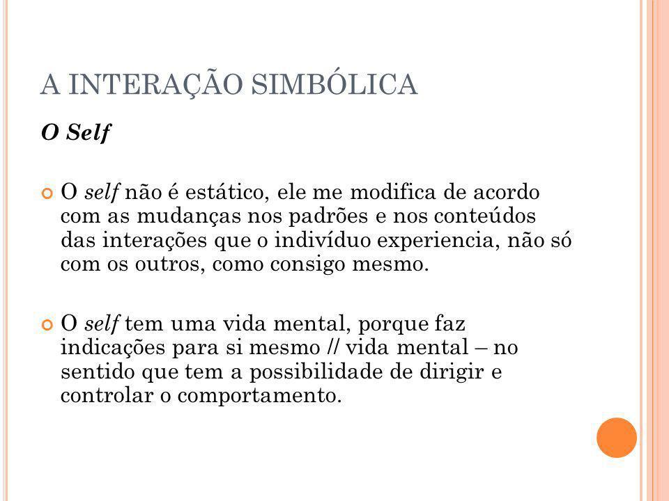A INTERAÇÃO SIMBÓLICA O Self