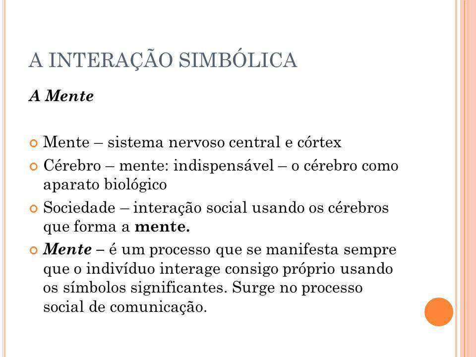 A INTERAÇÃO SIMBÓLICA A Mente Mente – sistema nervoso central e córtex