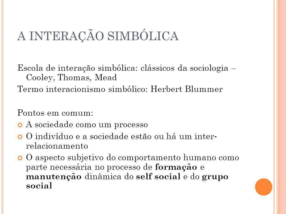 A INTERAÇÃO SIMBÓLICA Escola de interação simbólica: clássicos da sociologia – Cooley, Thomas, Mead.