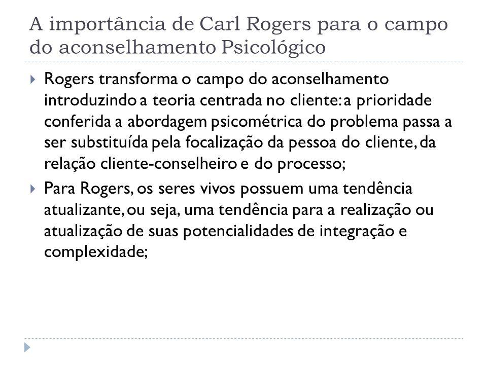 A importância de Carl Rogers para o campo do aconselhamento Psicológico