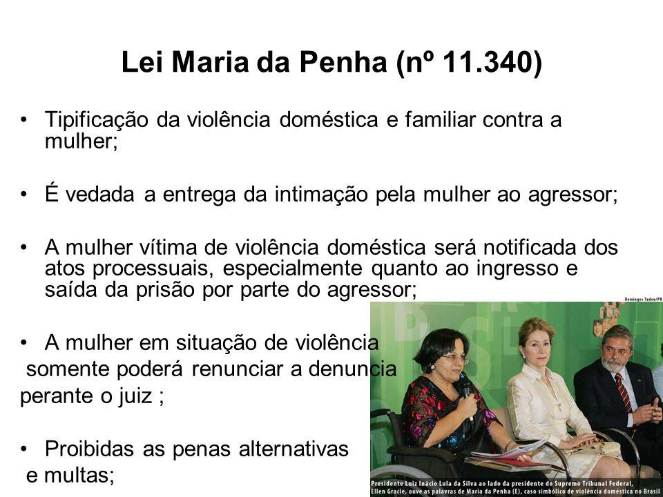 Lei Maria da Penha (nº 11.340) Tipificação da violência doméstica e familiar contra a mulher;