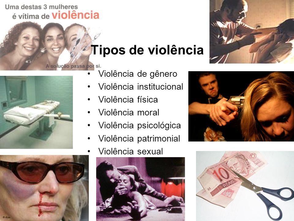Tipos de violência Violência de gênero Violência institucional