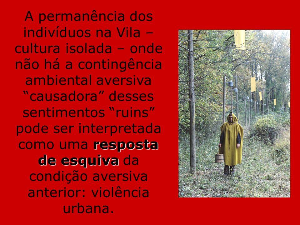 A permanência dos indivíduos na Vila – cultura isolada – onde não há a contingência ambiental aversiva causadora desses sentimentos ruins pode ser interpretada como uma resposta de esquiva da condição aversiva anterior: violência urbana.