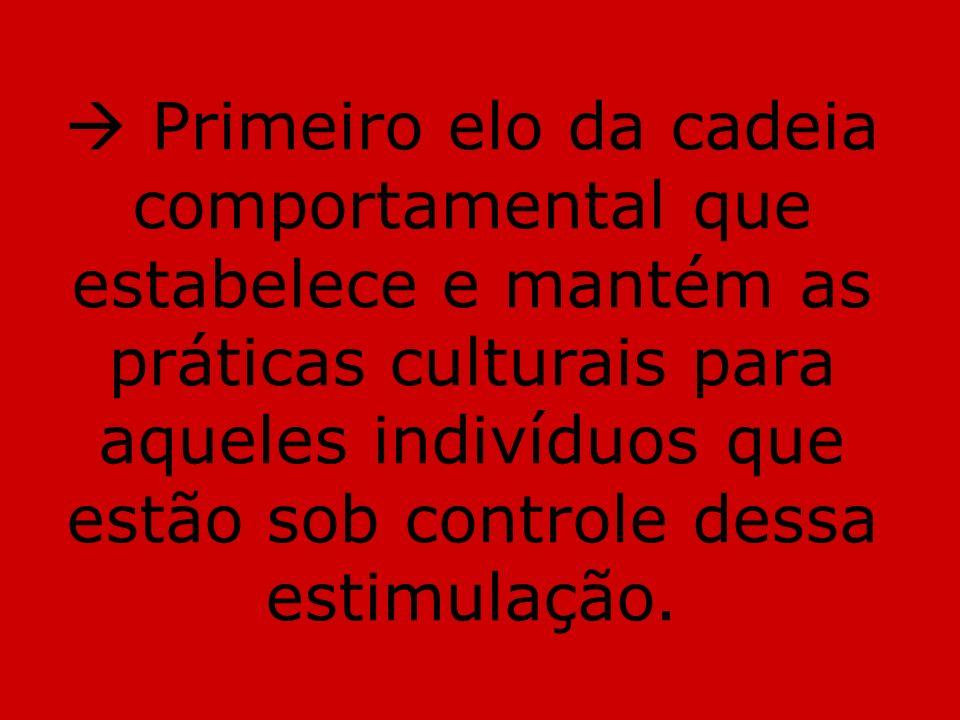  Primeiro elo da cadeia comportamental que estabelece e mantém as práticas culturais para aqueles indivíduos que estão sob controle dessa estimulação.