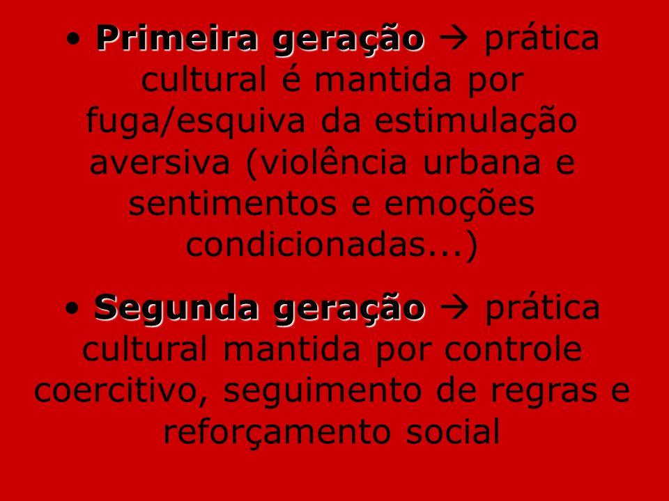 Primeira geração  prática cultural é mantida por fuga/esquiva da estimulação aversiva (violência urbana e sentimentos e emoções condicionadas...)