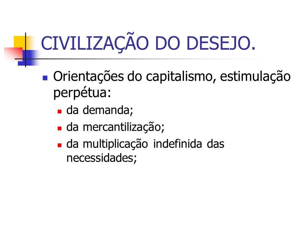 CIVILIZAÇÃO DO DESEJO. Orientações do capitalismo, estimulação perpétua: da demanda; da mercantilização;