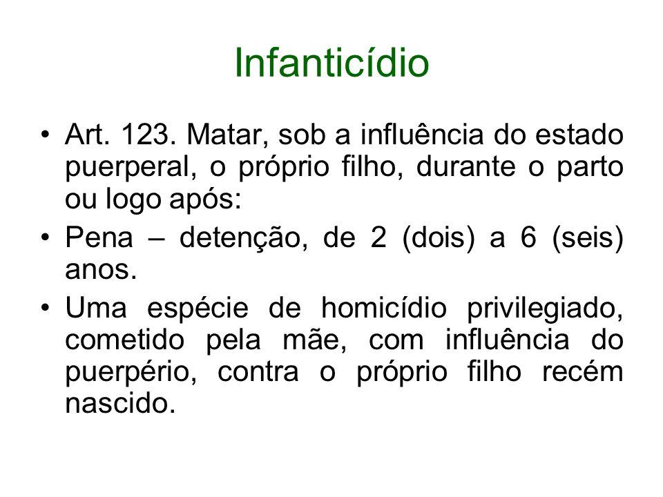 InfanticídioArt. 123. Matar, sob a influência do estado puerperal, o próprio filho, durante o parto ou logo após: