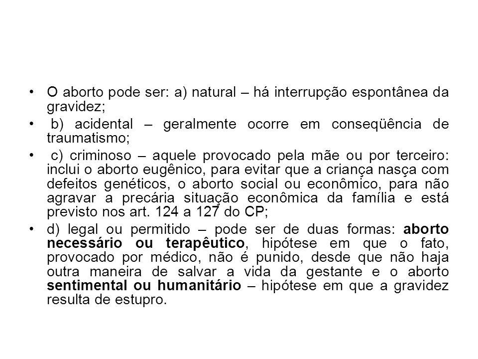 O aborto pode ser: a) natural – há interrupção espontânea da gravidez;