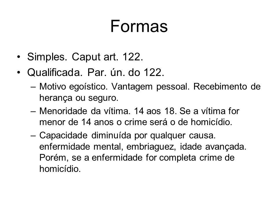 Formas Simples. Caput art. 122. Qualificada. Par. ún. do 122.